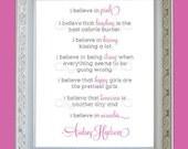 I Believe in Pink Audrey Hepburn Wall Art Print Poster Home Decor 8x10 Audrey Hepburn Quote Premium Print