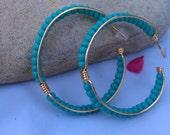 Free Shipping / Large Turquoise Versatile Hoops
