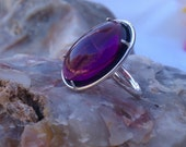 Free Shipping/ Amethyst Cabochon Ring