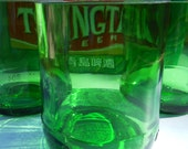 Recycled/Upcycled Green Glass Tsingtao Beer Bottle Votive Candle holders