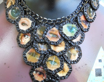 "OOAK -Green Motif - Upcycled Magazine Collage and Beer Cap Motif on Chain Necklace  ""Eyes"""