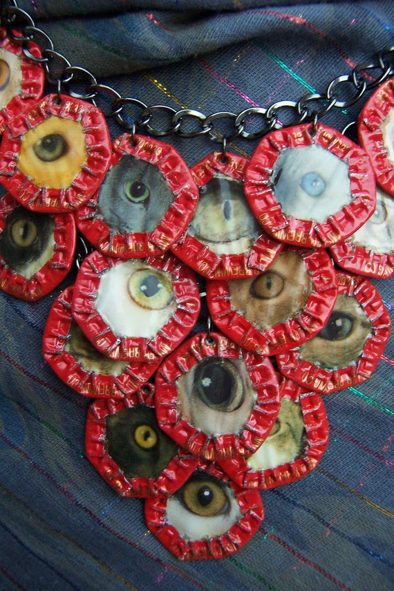 """OOAK - Green Motif - Upcycled Magazine Collage and Beer Cap Motif on Chain Necklace  """"Cat Eyes"""""""