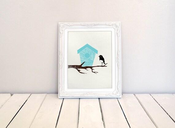 Robin and blue Birdhouse Giclee Print