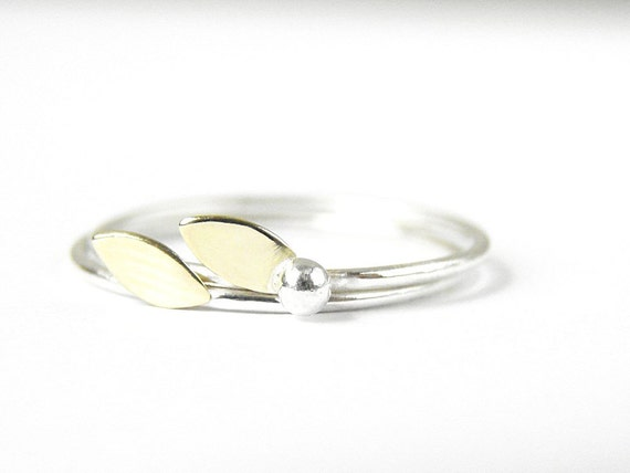 Delicate stacking rings. Leaf and berry. Sterling silver and gold brass