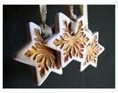 Christmas snowflake stars. Gold porcelain ornaments. Set of 5