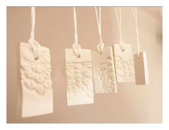 French lace ornaments -modern Christmas -  white porcelain - set of 5
