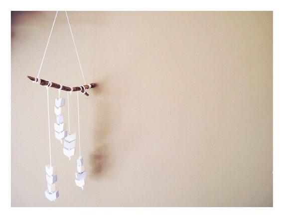 Porcelain chevron mobile, white and light blue arrows, handmade.