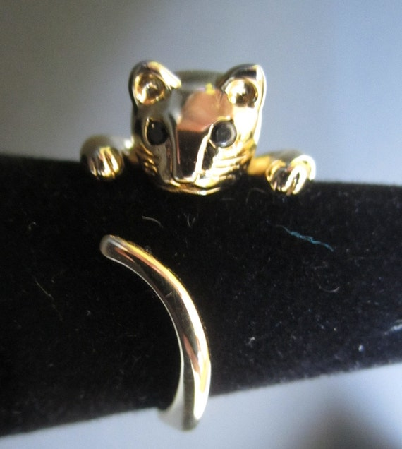 Gold Plated Adjustable Cat Ring with Black Zirconia Eyes - FREE SHIPPING