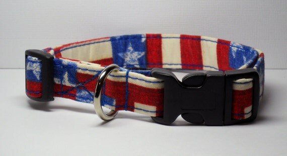 Medium Patriotic Stars and Stripes Dog Collar