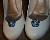 Vintage Royal Blue Light Green Rhinestone Shoe Clips - set of 2 - Sparkling Crystal Rhinestone Accents -