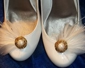 Bridal Feathered Shoe Clips - set of 2 - Gold Fillagree and Ivory Accents - white or ivory