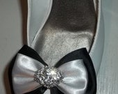 Bridal Shoe Clips - Silver and Black Satin Bows - Rhinestone Jewels - wedding shoe clips, set of 2