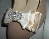 Bridal Shoe Clips - Ivory and Champagne 4 satin bows  Navette Rhinestones - shoe clips, satin shoe clips, wedding shoe clips