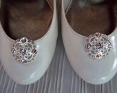 Rhinestone Fillagree Vintage Style Shoe Clips - set of 2 - Bridal Shoe Clips, Rhinestone Shoe Clips, Crystal Clips