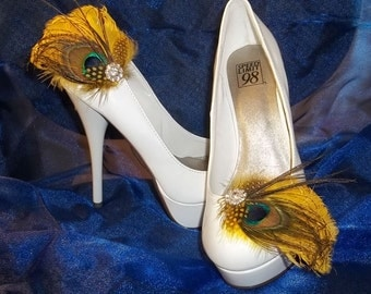 Bridal Shoe Clips - Bright Yellow Feathers, Shoe Clips, Feathered Shoe Clips, Wedding Shoe Clips