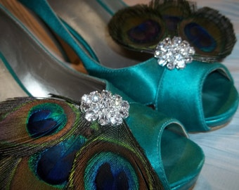 Bridal Shoe Clips - Peacock Feathers,  Rhinestones, Feather Shoe Clips, Bridal Wedding, womens girls