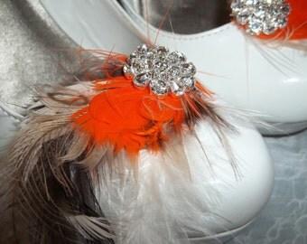 Shoe Clips - Bridal shoe clips, feather shoe clips set of 2 tan, brown, orange, rhinestones, fall shoe clips, autum wedding