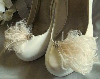 Bridal Shoe Clips,  White Feather shoe clips, ivory shoe clips,  French netting,  Wedding  Shoe Clips,  Bridal Shoe Clips, Gifts for her
