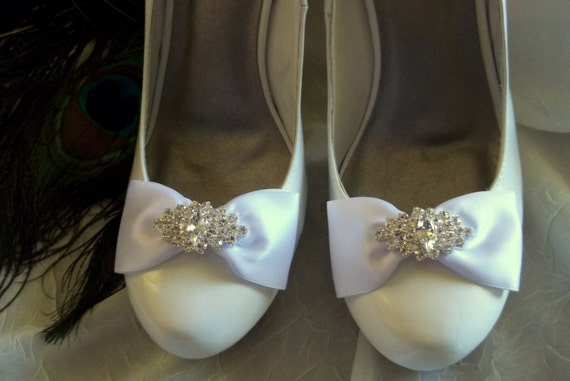 Wedding Shoe Clips, Satin Bow Shoe Clips, Rhinestone Shoe Clips,Bridal Shoe Clips, Shoe Clips for Wedding Shoes, Bridal Shoes, MANY COLORS