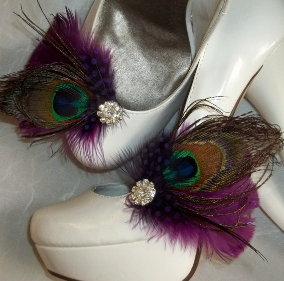 Bridal Shoe Clips - Purple Plum Feathers, Peacock Shoe Clips, Feathered Shoe Clips, Wedding Shoe Clips