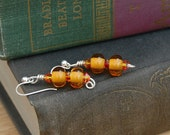 Orange Earrings Glass Bead Sterling Silver Lampwork Halloween Earrings Two Tier Earrings Transparent Orange Earrings Fall Stack Earrings
