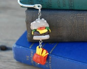 Cheeseburger and Fries Bookmark 4th of July Polymer Clay