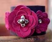 Purple and Fuschia Leather cuff