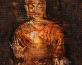"""0911-01 Buddha with Om Mani Padme Hum, 24""""x32""""x1.5"""", Giclee' on canvas, gallery wrapped"""