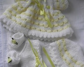 Hand Knitted  dolls / reborn clothes set in white / yellow to fit 10 / 12 inch baby doll / reborn