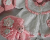 baby jacket / cardigan, bonnet and booties, mittens and small teddy pink daisy