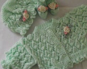 hand knitted  cardigan / jacket ,  hat / bonnet and pair of booties for  baby / reborn