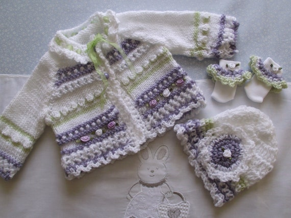 hand knitted / crochet  baby cardigan / jacket and matching hat and little socks  for baby / reborn