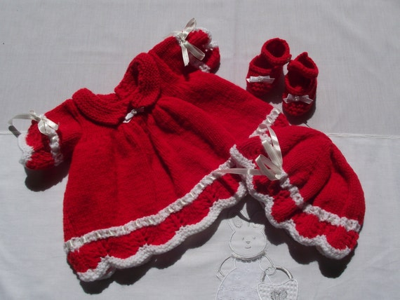 Hand knitted  dolls / reborn clothes set in red / white to fit 16 - 18  inch doll / reborn
