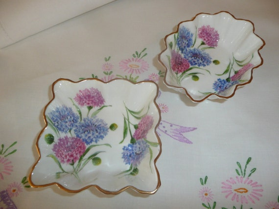 Too sweet- two sweets dishes- English Paragon- Cornflower pattern