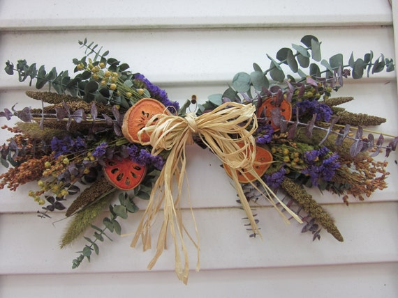 Dried Flower Small Hanging Swag Fall Flowers And By