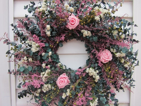 Dried Flower Wreath with Roses Pink Mixed Flowers