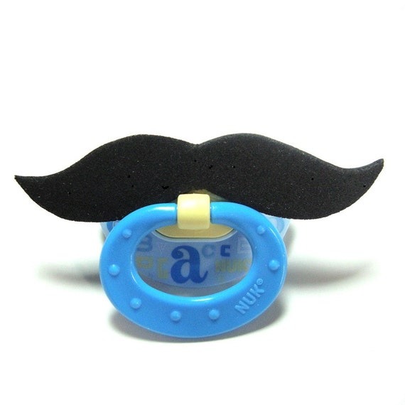 Mustache pacifier black 0 to 6 months