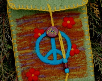 Wool Felted Pouch - Peace