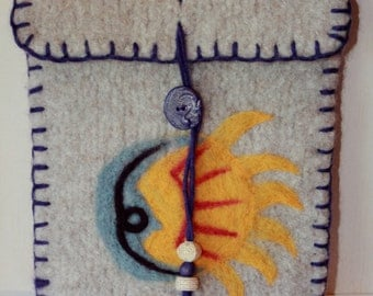 Wool Felted Pouch - Sun and Moon