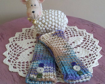 Hand Knit Wrist Warmers - Purple, Tan, Cream, Aqua & Olive - one size fits most - 1 pair