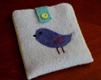 Wool Felted Pouch - Bluebird