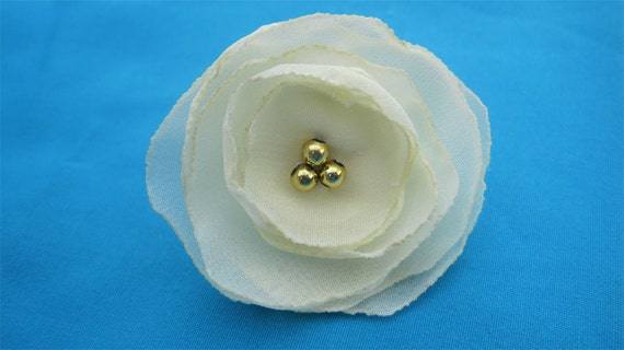 Fabric Flower Ring in Cream Chiffon and Gold