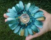 Turquoise Steam Punk Watch Hair Flower Clip