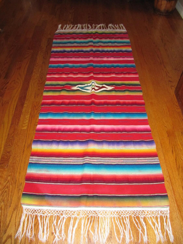 Blanket Rug Vintage Antique Mexican Wool By Backroadsofamerica