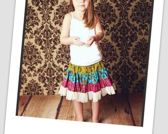 Sewing Pattern Skirt , INSTANT DOWNLOAD,Twirly Swirly Skirt with Head Band (pdf pattern)