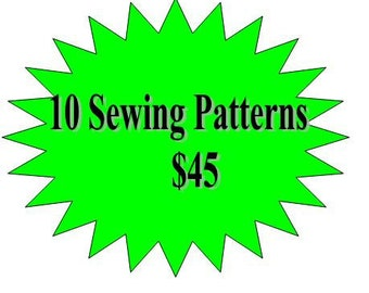 10 Sewing Patterns Girls Dress- Any 10 Patterns in my Shop for 45 - Offer ends soon