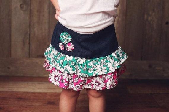 Girls  Ruffled Skirt Pattern ,  Pdf  Sewing Pattern for 2 to 8 Yrs, Ruffled Denim Skirt