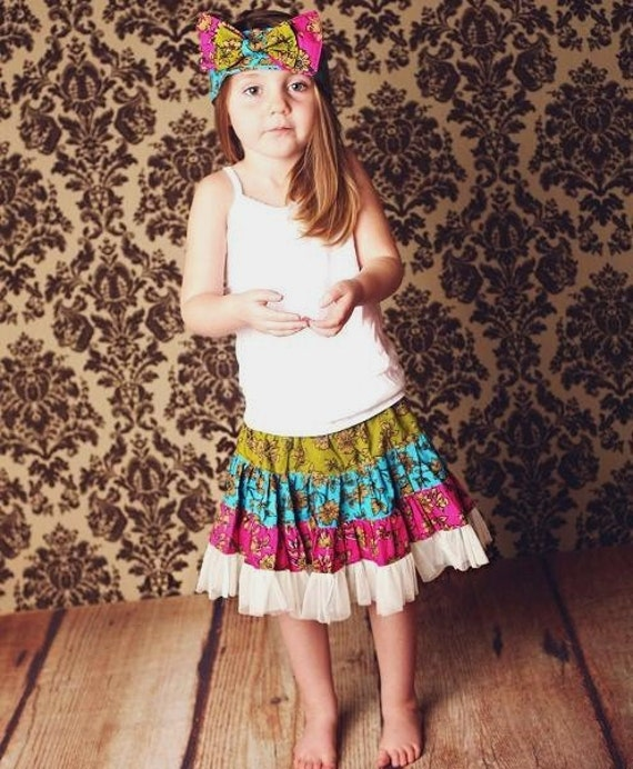 Sewing Pattern Skirt , Twirly Swirly Skirt with Head Band (pdf pattern)
