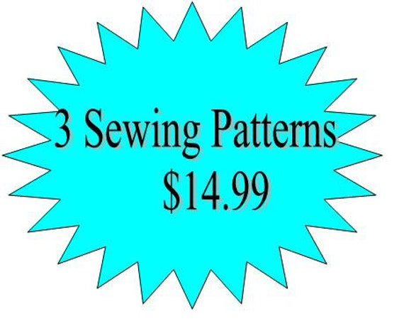 3 Sewing Patterns Girls Dress- Any 3 Patterns in my Shop for 14.99- Offer ends soon