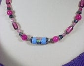 pale pink, dark pink crystal beads, soft baby blue center focal, polished pink round stone pink glass, necklace